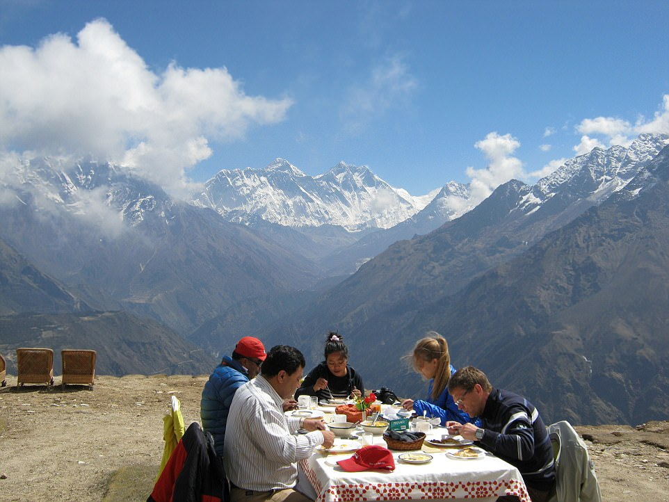 Views to dine for: For £4,000 a pop, Explorations Company clients are treated to a sky-high breakfast, along with two nights in a Kathmandu hotel