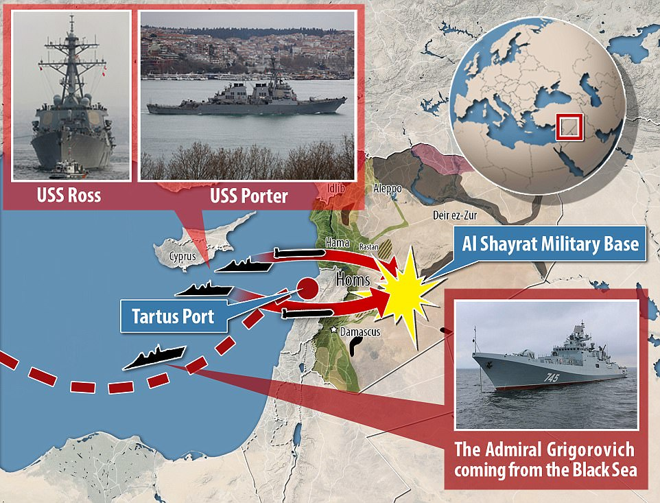 Route: It will pass through the east Mediterranean waters where the USS Ross and USS Porter fired the 59 Tomahawk missiles that pounded Assad's al-Shayrat military airfield near Homs in the early hours of Friday