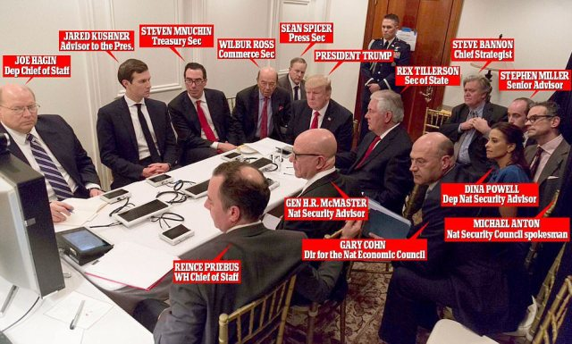 Inside the Mar-a-Lago war room: President Trump is briefed on a video link with his advisers and cabinet members around him. Trump was meeting with Chinese Premier Xi Jinping when he was pushed into action