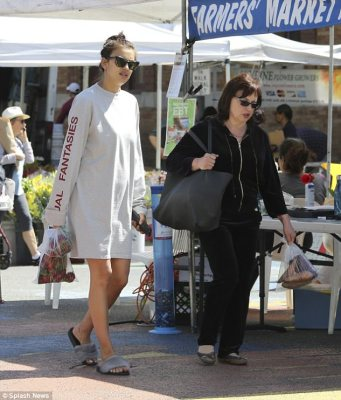 New mother: Irina was pictured shopping with her mother Olga last week; it has now emerged that the Russian model had already given birth