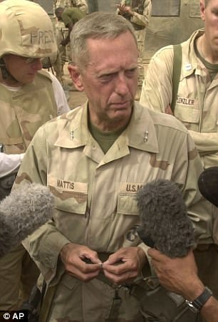 General: US Defence Secretary Jim Mattis pictured in 2013 in Baghdad speaking to reporters about reports of chemical weapons
