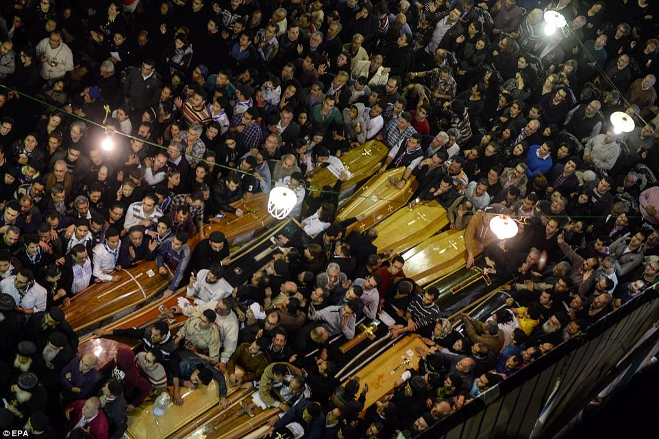 Mourners filled a church in Tanta, Egypt that had been torn apart in a terrorist bombing to bury the 27 victims claimed in one of two attacks on Palm Sunday