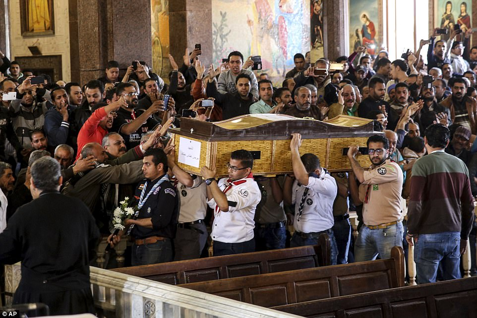 In Alexandria, mourners were outraged by what they said was the state's failure to keep them safe on one of their holiest days