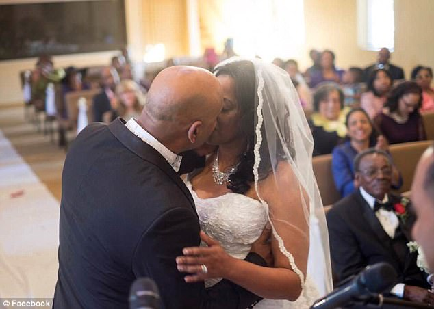 Cedric Anderson, 53, opened fire on his estranged wife Karen Smith, 53, before killing himself at North Park Elementary School in San Bernardino, CA. on Monday. They were married in January (pictured) before they separated around a month ago