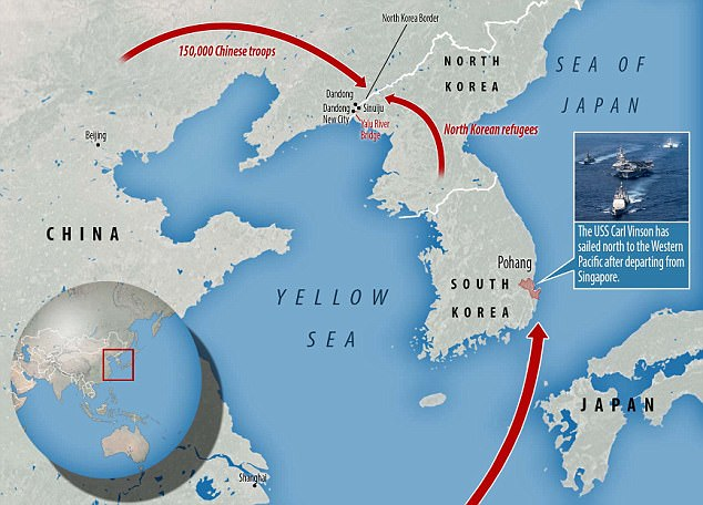 The Chinese army has deployed 150,000 troops  to the Yalu River Bridge at the North Korean border in anticipation of a wave of refugees from North Korea if war breaks out. Meanwhile, the US Navy has moved the USS Carl Vinson aircraft carrier strike group from Singapore to the North Korean peninsula