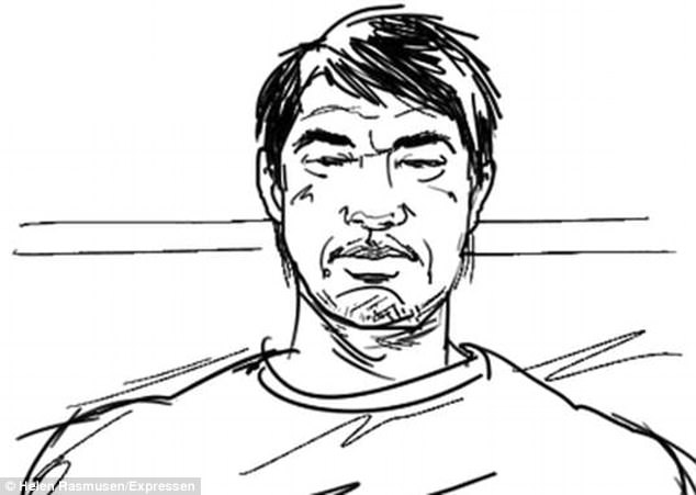 A sketch was taken of Akilov during his court appearanace in Stockholm today