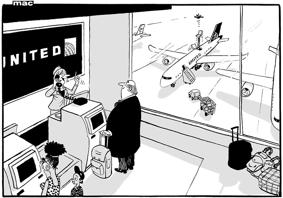 Image result for cartoons overbooking flights