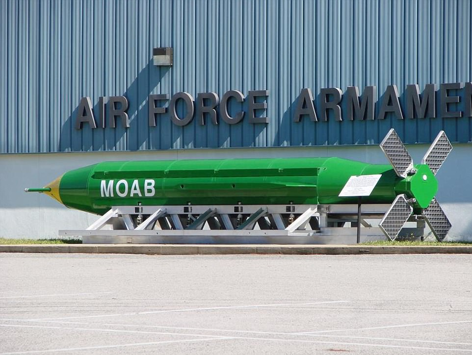 The military used a GBU-43 (pictured), which weighs a staggering 21,600 pounds, and has earned the moniker 'Mother Of All Bombs