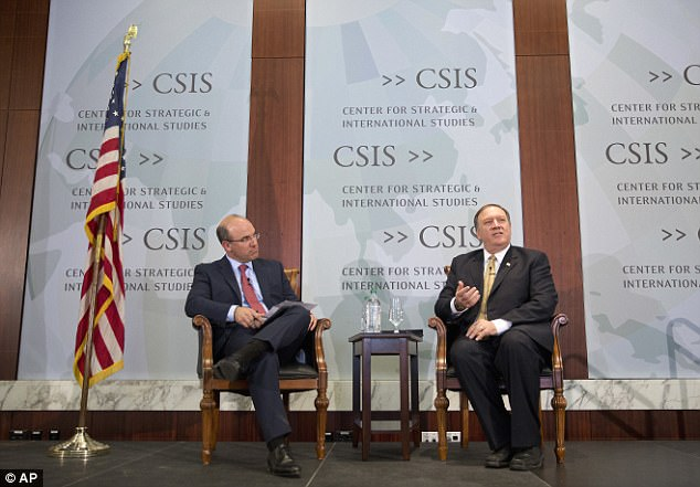 Speaking at the Center for Strategic and International Studies, CIA Director Mike Pompeo (right) went off on Wikileaks, suggesting Julian Assange was doing it for selfish reasons