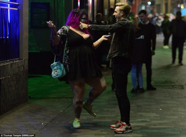 While some looked worse for wear, others appeared to simply be enjoying the night, including this pair who were pictured about to embrace in Liverpool