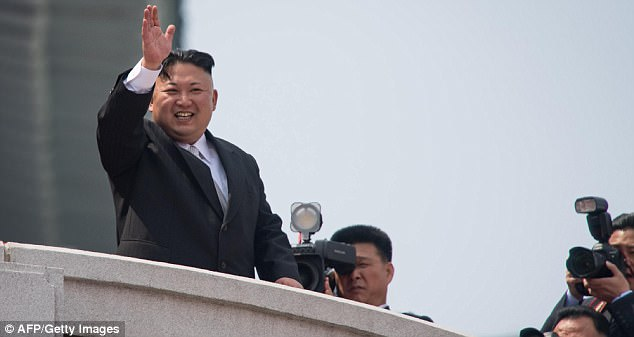 Kim Jong-un was noticeably relaxed and appeared happy as he attended the 'Day of the Sun' military parade in Kim Il Sung square - which celebrates his grandfather - the founder of North Korea