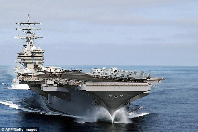The US is sending two more aircraft carriers, including the USS Nimitz (pictured), towards the Korean Peninsula, it has been claimed