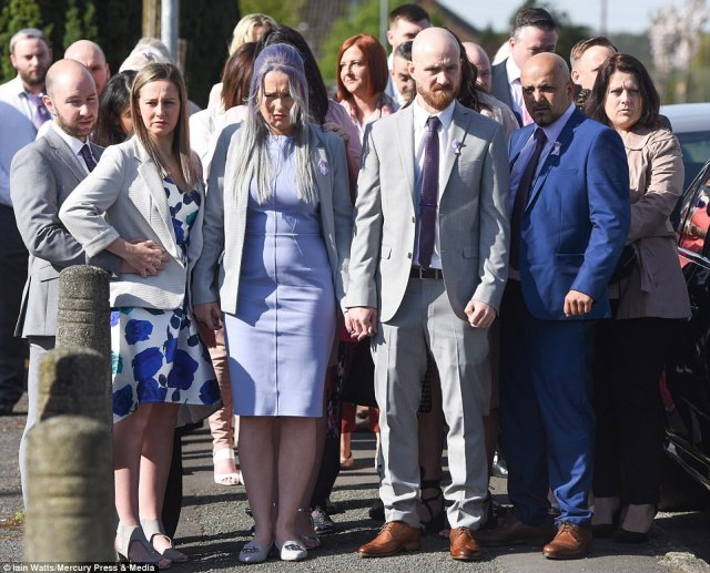 Violet-Grace Youens passed away in hospital last month days after she and her grandmother were struck by a car as they walked through St Helens, Merseyside. She died in the arms of her mother, pictured front centre left in a violet dress