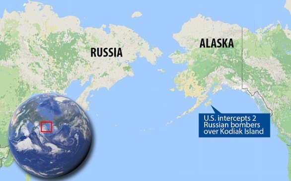 This map shows where the intercept on Monday took place near Kodiak Island, Alaska