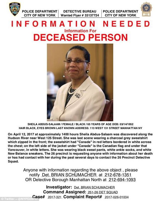The NYPD is asking the public to come forward with information on Abdus-Salaam's whereabouts in the hours leading up to her death