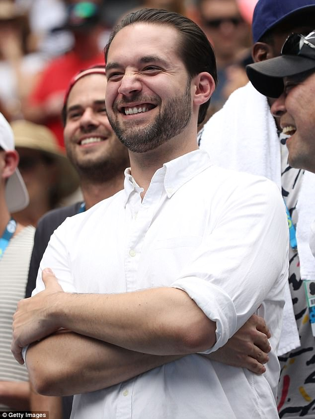 He's a fan too: Ohanian watched her first round match against Belinda Bencic of Switzerland on day two of the 2017 Australian Open at Melbourne Park in mid January