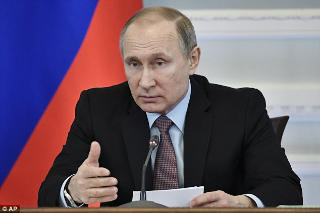 Putin (pictured) has reportedly been warned that in the event of a US strike on Kim Jong-un's nuclear facilities, contamination could swiftly reach Russia