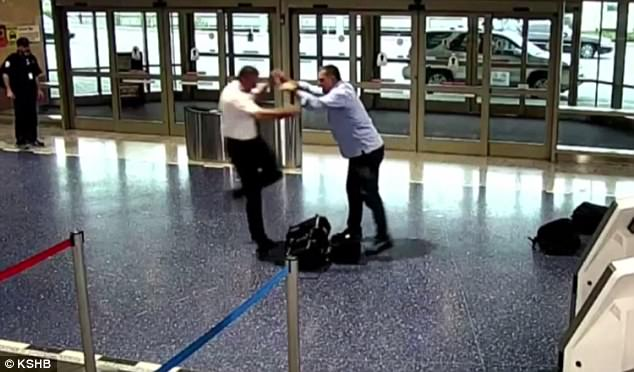 A man has been charged for assaulting (pictured) an off-duty pilot as they walked off a plane in Kansas City