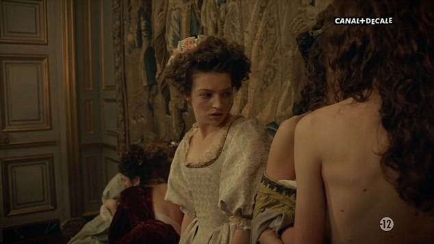 Explicit: Courtiers couple up with groups of girls going to bed together