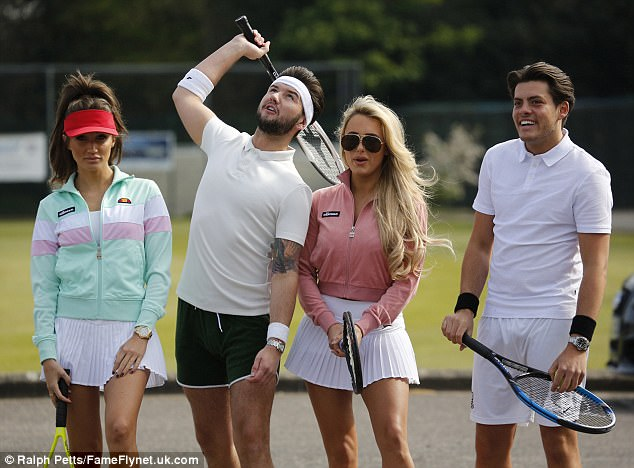 Rivals: Megan and Amber were up against TOWIE newbies Jack Rigden and Jordan Brook