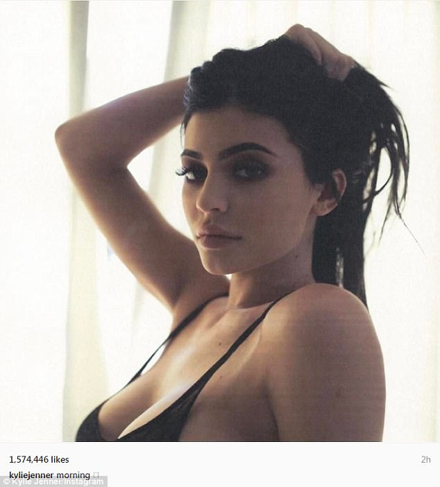 Chest good friends: Kylie Jenner looked incredibly busty in a sultry selfie which she posted to Instagram on Thursday