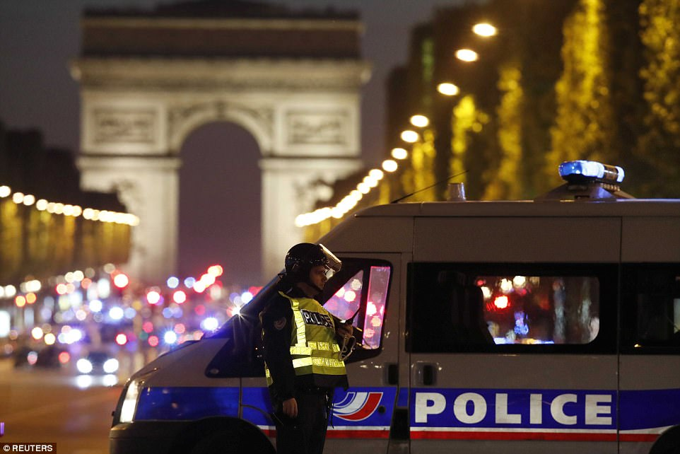 Police officers quickly secured the area - which is popular with tourists and Parisians - after the attack and the road was on lockdown by 9pm