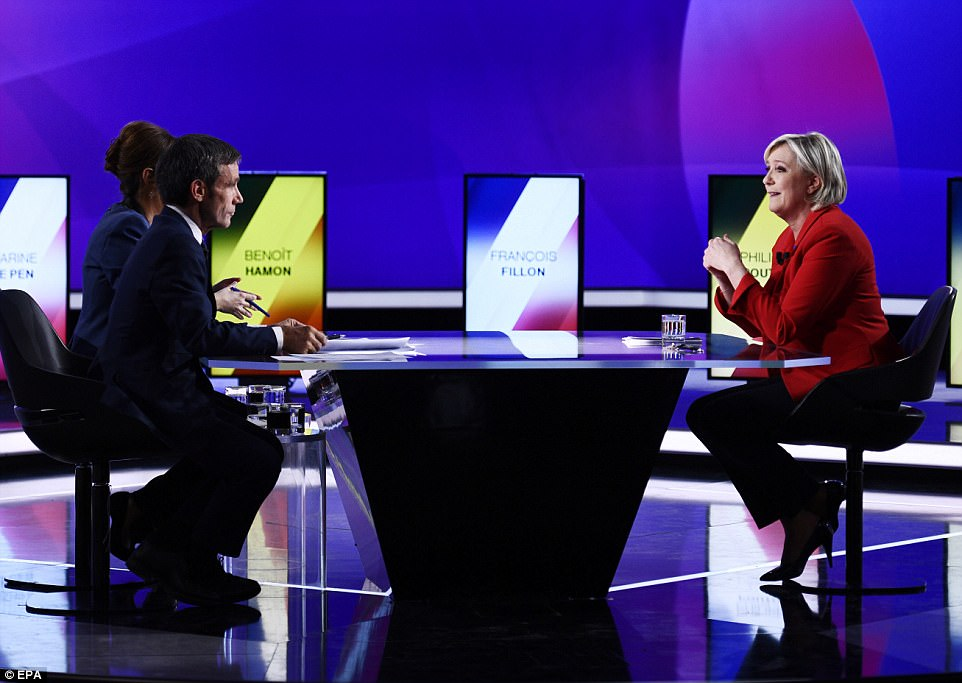 French presidential candidates, including National Front party leader Marine Le Pen (pictured), took part in a key debate