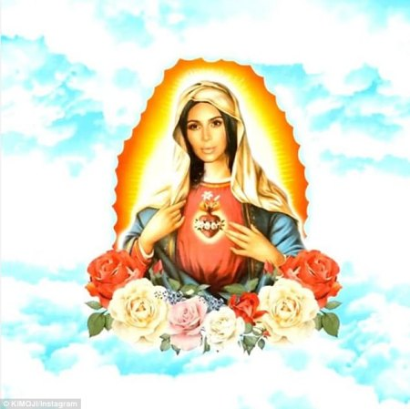 Backlash:Meanwhile Kim angered her fans today by transforming herself into the Virgin Mary for a new Kimoji