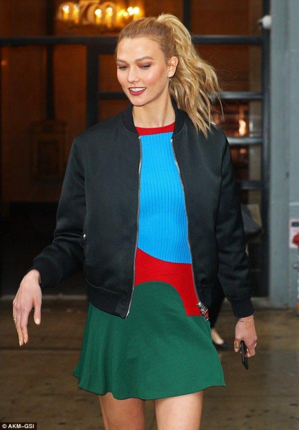 Karlie Kloss shows arrives at Good Morning America studios ...