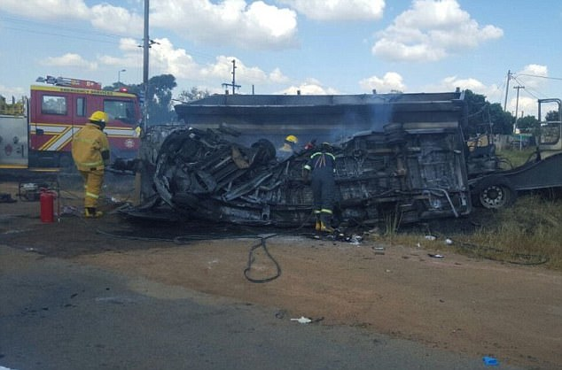 About 20 children were in the minibus when it collided with a truck in South Africa