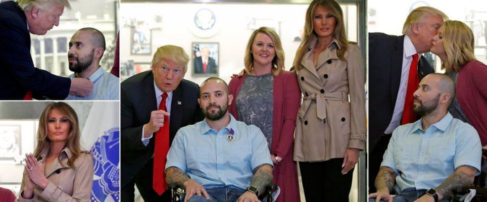 President Trump and Melania award Purple Heart to veteran