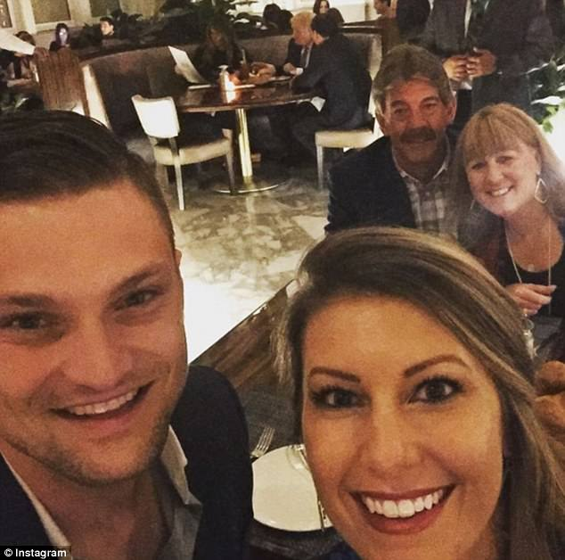 A number of people also posted photos or 'selfies' at their dinner table that featured the President and First Lady in the background