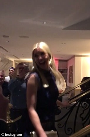 Ivanka looked particularly thrilled to be greeted so pleasantly, and even turned around and gave the people taking her picture a big smile as she ascended a staircase at the restaurant