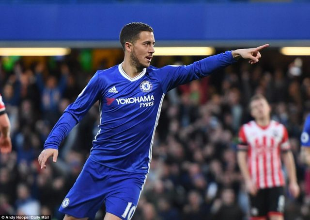 Eden Hazard points the way after putting Chelsea in front after just five minutes against Southampton at Stamford Bridge