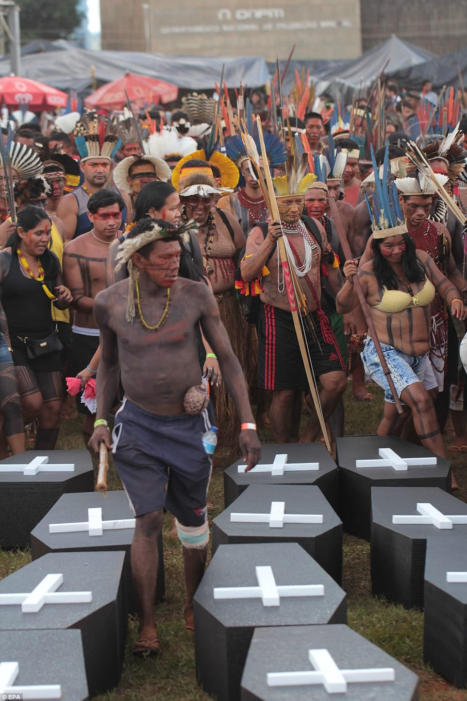 The protest is focused on legislation that would give the last word on deciding land boundaries for indigenous reservations to Congress, where a powerful farm lobby holds sway. Currently, Brazil's president retains the power to set such boundaries