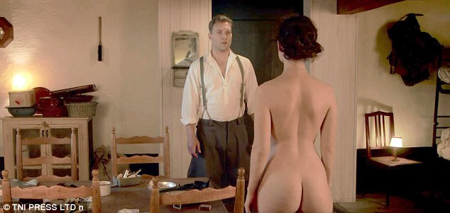 Forbidden love: The 28-year-old bares all, wearing nothing but a long silver pendant in the eye-opening bedroom scene with Jai Courtney.