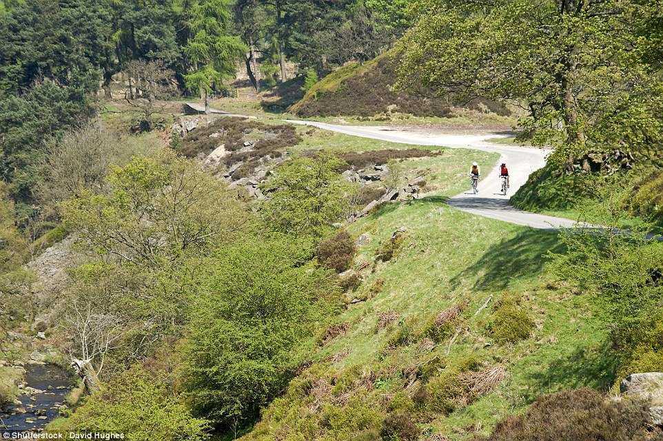 Green backdrop: Two riders prepare to ascend up a hill during a cycle around the Goyt Valley area of the Peak District national park in Derbyshire, England
