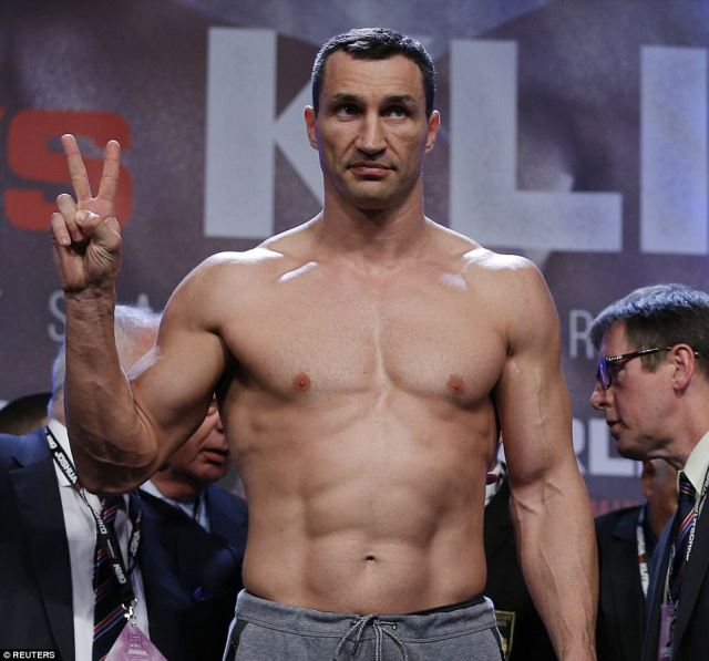Ukrainian heavyweight Klitschko came in at 17st 2lb 6ozs on Friday afternoon ahead of his return to competitive action