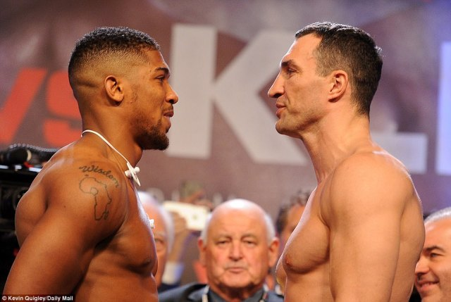 Anthony Joshua (left) and Wladimir Klitschko have weighed in ahead of their highly-anticipated big heavyweight fight