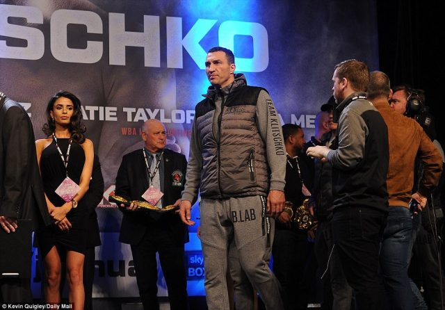 Klitschko arrived in a gilet and grey tracksuit combination ahead of the weigh-in which was watched by a crowd of 2,000