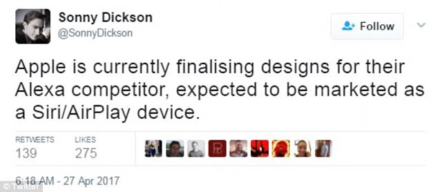 The public did not hear about the device again until April when Sonny Dickson, a well-known tech leaker, revealed that the Cupertino company was 'currently finalizing' its smart speaker and noted that it will be marketed as a 'Siri/AirPlay device'