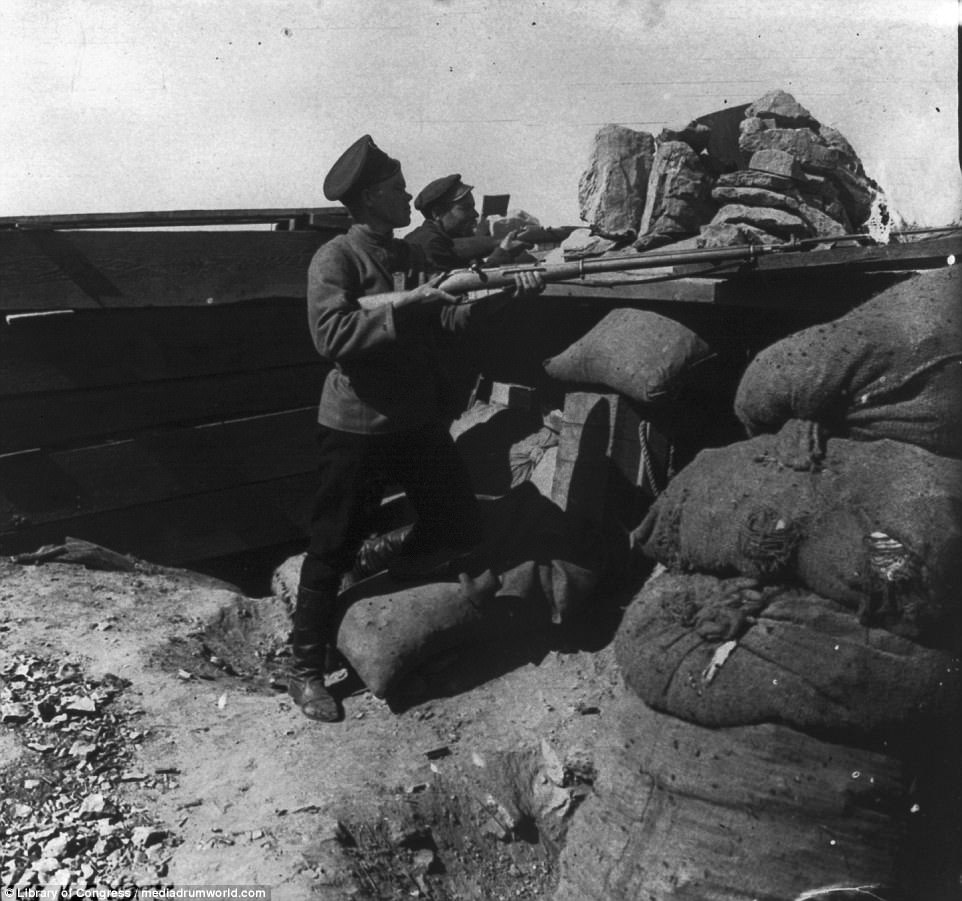 The black-and-white images, released by the Library of Congress, document the bloody war between Russia and Japan which ended in a humiliating defeat for Tsar Nicholas II
