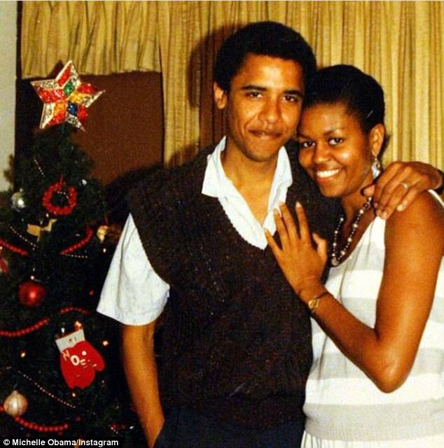 The book claims that Barack was living with Sheila Miyoshi Jager before he met Michelle in the late 1980s (pictured with FLOTUS)