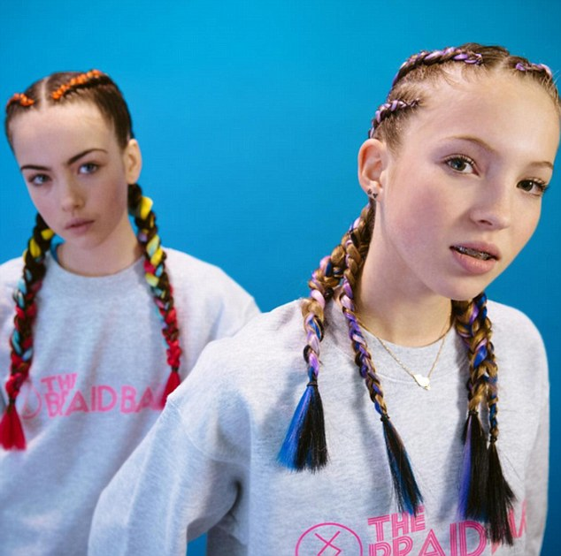 Model daughter: Kate Moss' daughter  Lila Grace, 14, (right) has landed her first fashion campaign, posing alongside her friend - The Clash musician Mick Jones' daughter Stella (left) - as the new face of The Braid Bar
