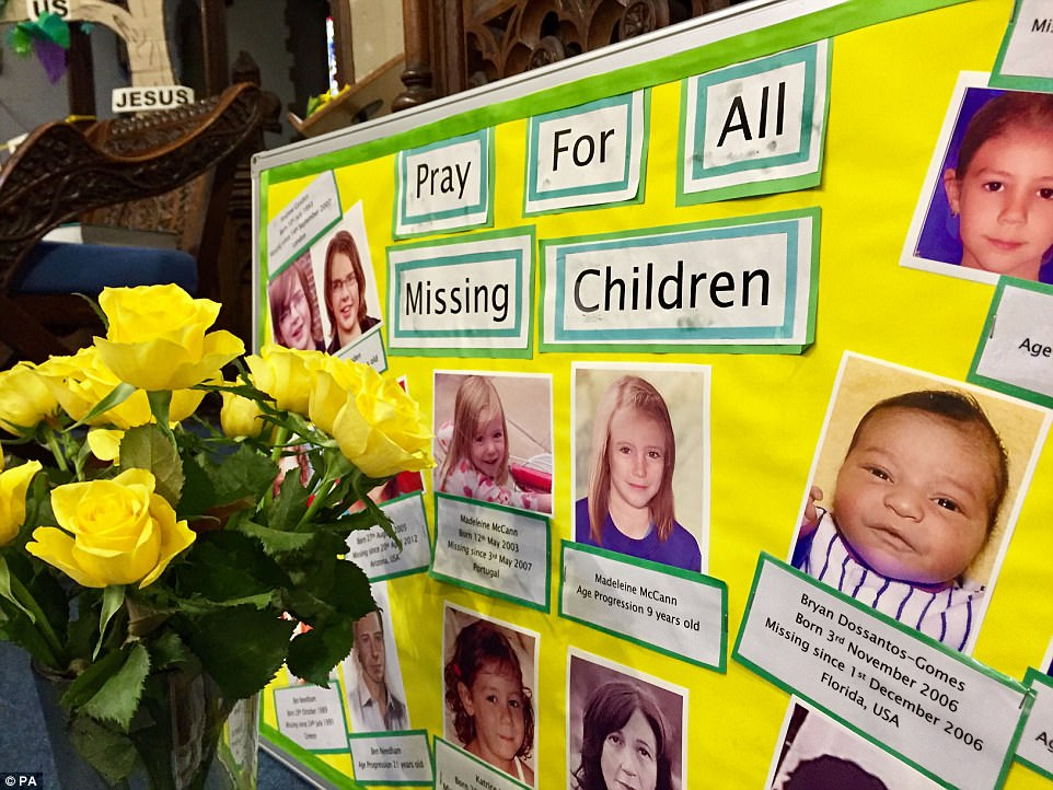 Tributes inside Rothley Parish Church, Leicestershire, which also remembers other missing children on the tenth anniversary of the disappearance