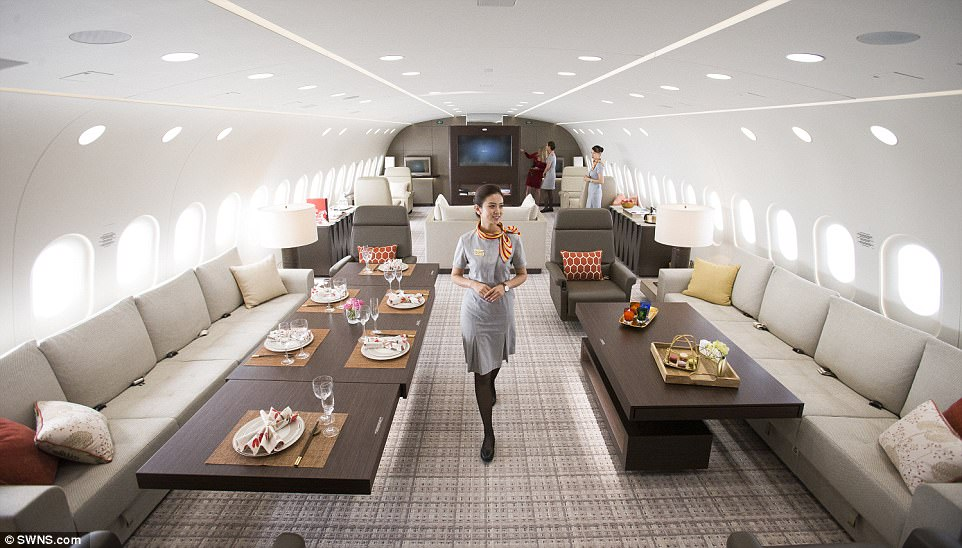Inside the world's biggest private yet: The VVIP Dreamliner B787 is currently on show at London's Stansted Airport