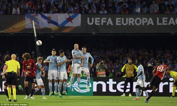 Marcus Rashford opens the scoring for Manchester United against Celta Vigo with this stunning second-half free-kick