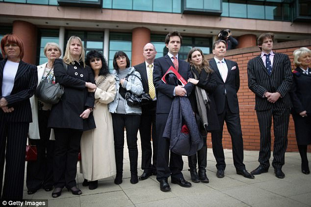 Friends and supporters of Nigel Evans outside Preston Crown Court.  It only took the jury six hours to find Mr Evans not guilty