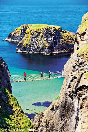 The famous Carrick-a-Rede rope bridge near Ballintoy