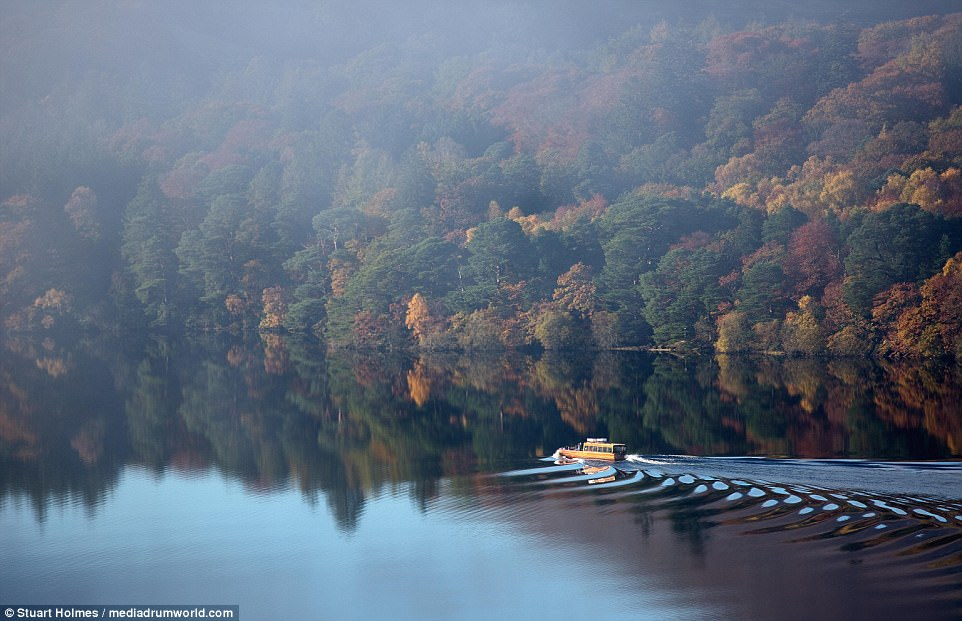 Misty morning: Derwentwater, pictured, is one of the principal bodies of water in the Lake District National Park with a maximum depth of 72 feet